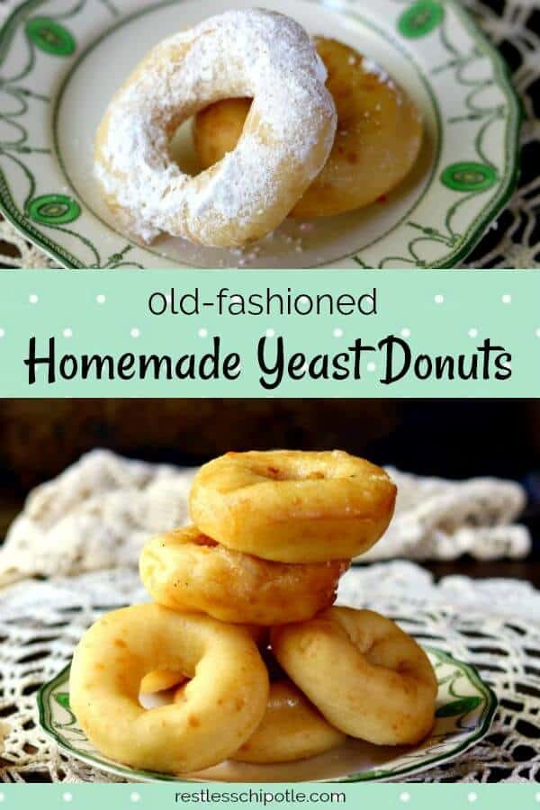 This homemade donut recipe makes a light and fluffy yeast donut that\'s perfect for dipping into a sweet glaze or rolling in Confectioner\'s sugar. #donuts #glazeddonuts from RestlessChipotle.com