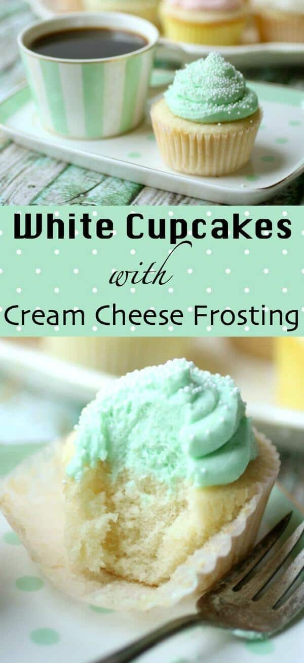 Classic white cupcakes recipe is simply the best. Moist, fluffy, and tender flavored with a traditional combination of almond and vanilla - plus I've got a tip that will give your cake so much flavor people will be begging to know how you do it. These homemade cupcakes are topped with whipped cream cheese icing. #cupcakesrecipe #whitecupcakes