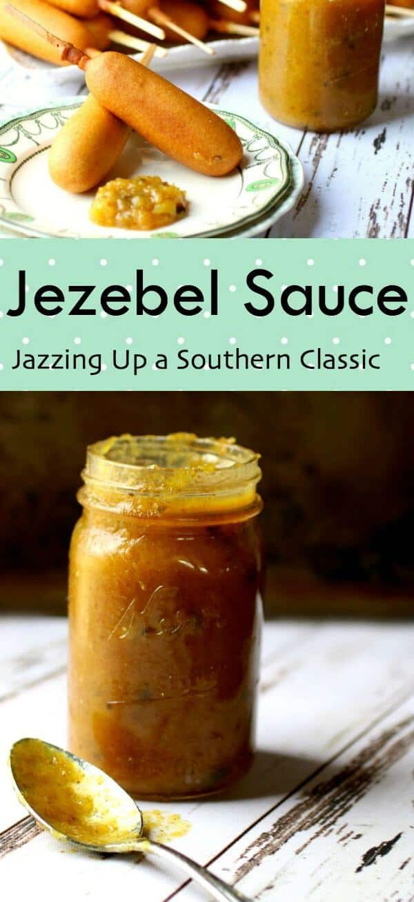 Classic Southern Jezebel sauce recipe is jazzed up with bourbon - perfect for dips, sandwiches, and meat glazes! From RestlessChipotle.com #southernrecipes #jezebelsauce #dips