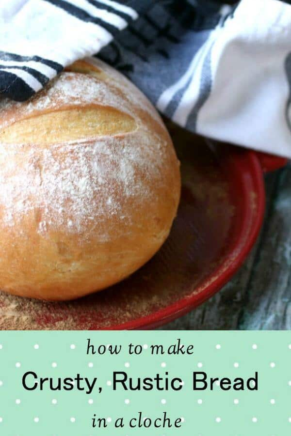 You'll love this easy recipe for rustic bread is made in a cloche. Baking in a cloche retains steam and gives the bread a European style texture and crispy crust. It's incredibly easy to do, even for a beginning bread baker. With just 5 ingredients plus water you'll be baking up delicious bread in no time! #homemadebread #artisanbread