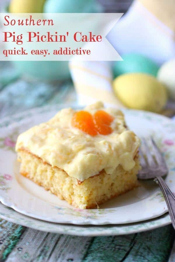 Square of cake with a creamy pineapple topping on a flowered vintage plate - title image