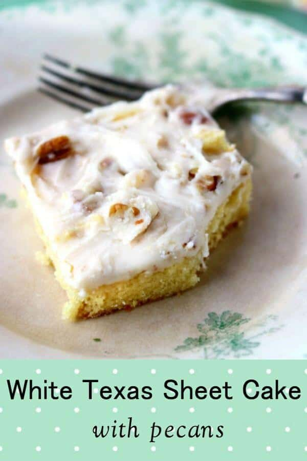 Homemade and rich, this white Texas sheet cake has a hint of coconut flavor. Made from scratch, this easy cake is topped with a candy-like white glaze studded with toasted pecans. It\'s even better the second day! A quick from scratch cake that\'s the perfect dessert for potlucks, casual get-togethers, and bake sales. #cake #homemade #bakesale #potluck