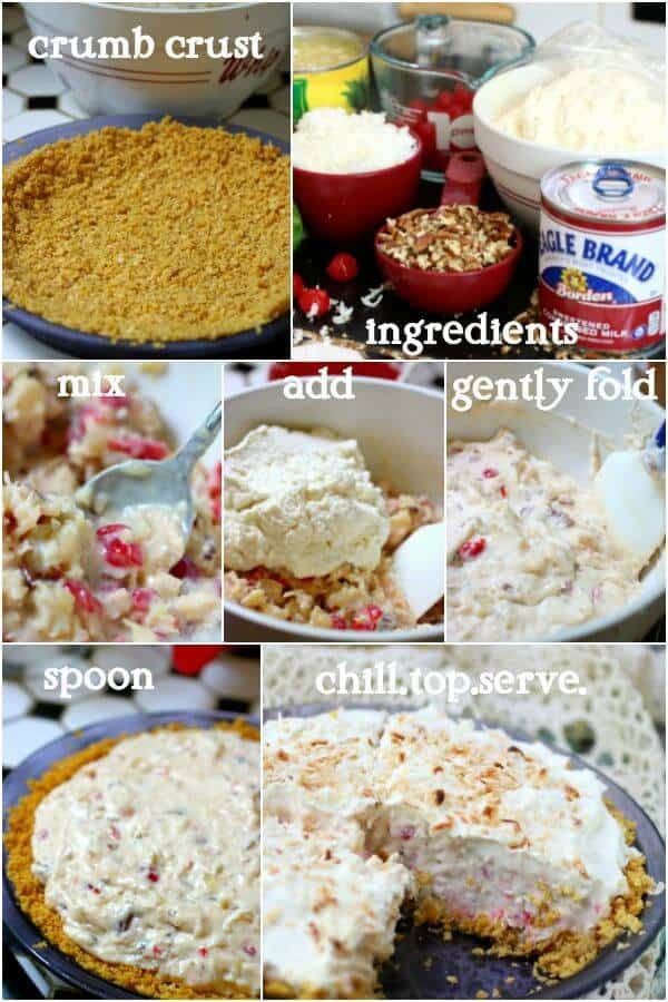 Easy step by step images in a collage show how to make this millionaire pie