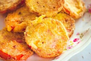 Closeup of fried green tomatoes -horizontal image
