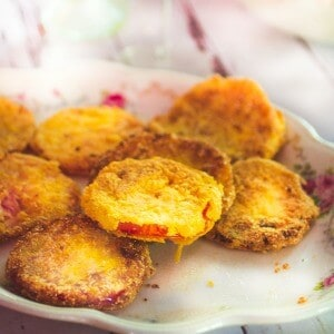 fried green tomatoes on a vintage platter - recipe image