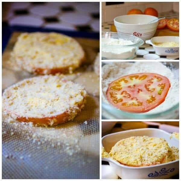 A collage of step by step images showing how to make fried green tomatoes.