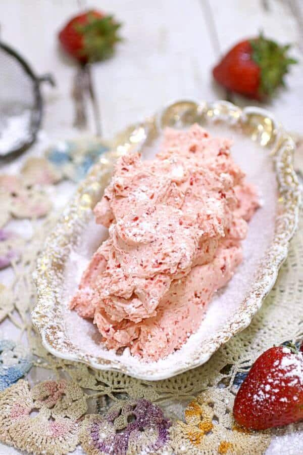 Easy homemade strawberry butter in an antique dish