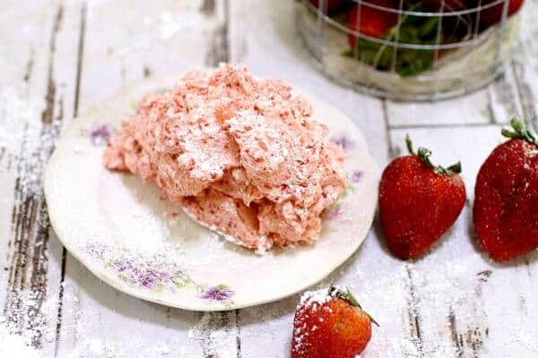 A dish of whipped strawberry butter