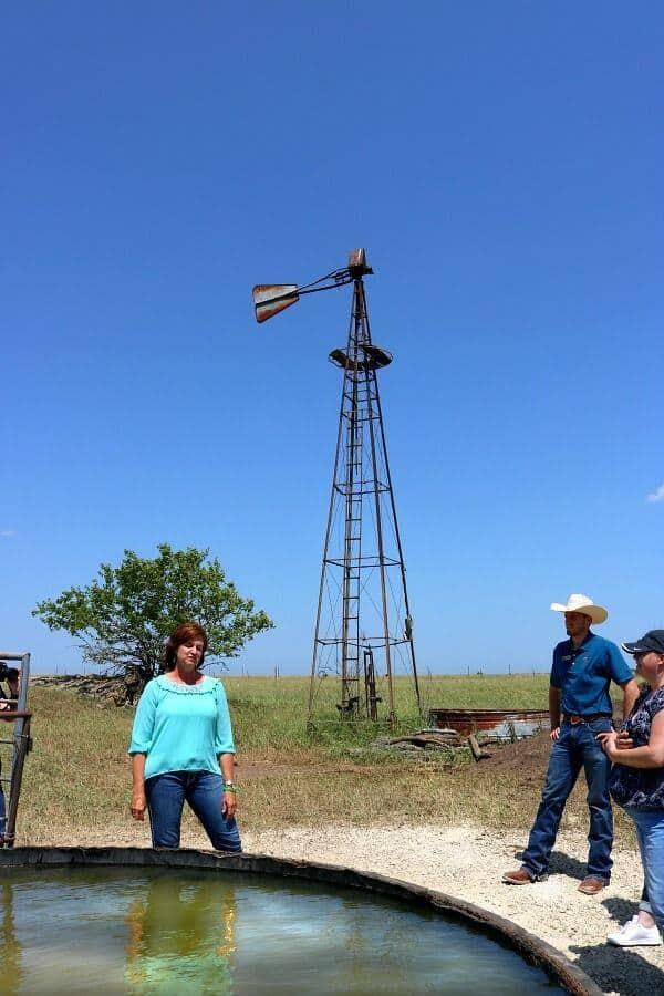 An old windmill near a new solar powered well on a kansas beef farm