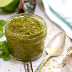 closeup of chimichurri sauce recipe image