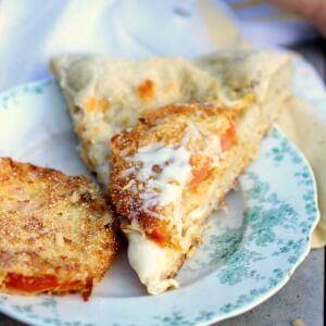 Slice of fried green tomato pizza - recipe box image
