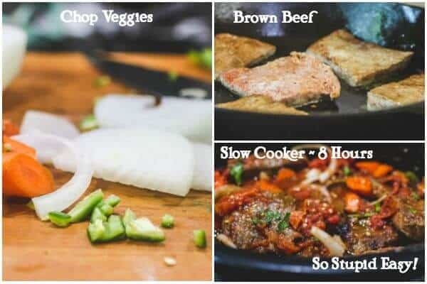 Classic swiss steak in a slow cooker or oven restless chipotle step by step images for making classic swiss steak forumfinder Image collections
