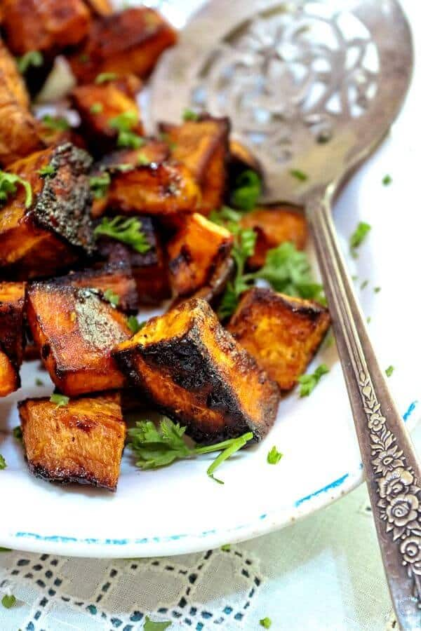 Savory sweet potato side dish ready to serve.