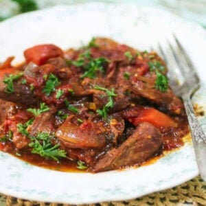 Closeup of swiss steak on a plate.
