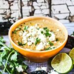 A Bowl of Mexican Street Corn Soup topped with crumbled Cojita cheese