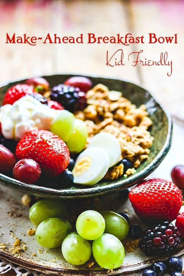 Grapes, berries, and an egg combine in a pretty pottery bowl. Title image