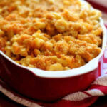 Macaroni and cheese in a casserole dish.