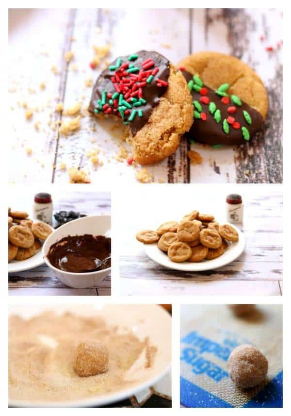 Collage of step by step images for making cinnamon crinkle cookies