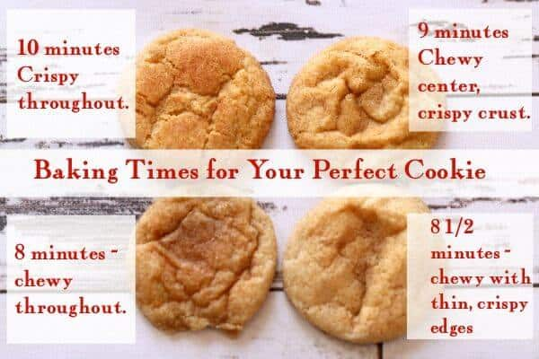A chart of cooking times for cinnamon crackle cookies.