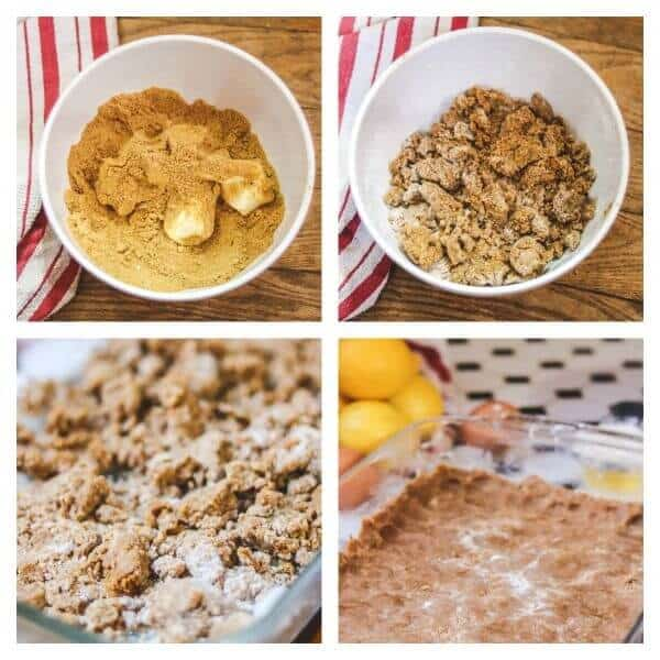Collage of step by step images for making lemon bar crust