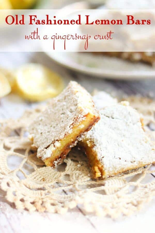 Two lemon bars on a doily -title image for this post.