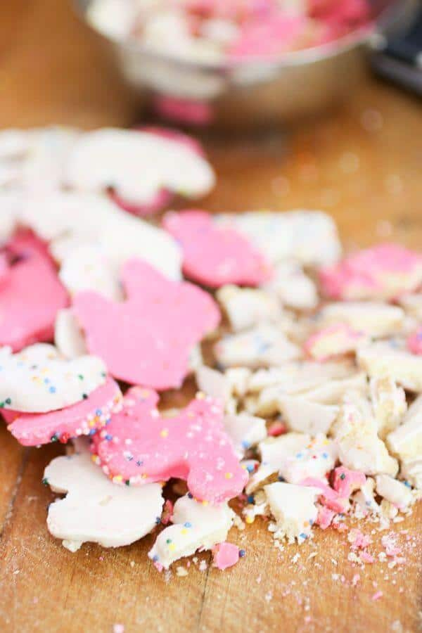 pink and white iced circus animal cookies for pink ice cream