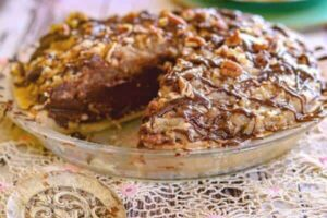 No bake German Chocolate pie with a slice removed