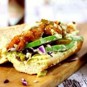 Closeup of fried shrimp po boy sandwich