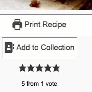 a screen shot of the button to save recipes