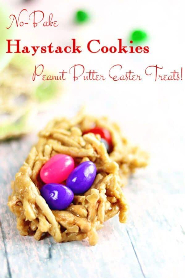 A haystack cookie made to look like a nest with 3 jelly beans in it.