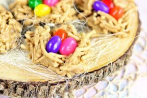 Closeup of Easter Nest cookies with jelly beans