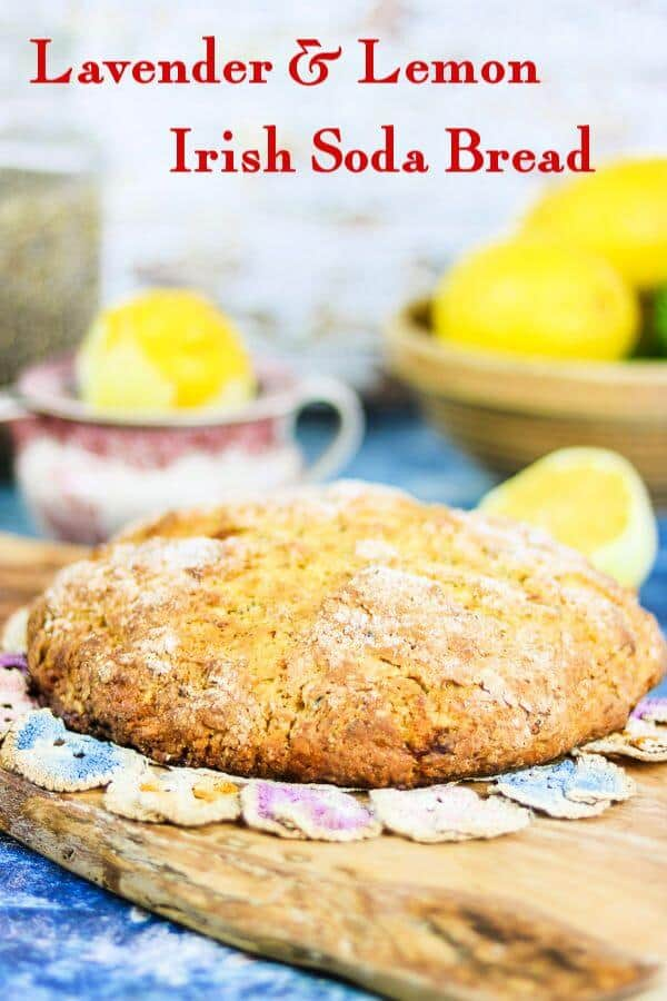 Bright, citrus flavor! This lemon lavender Irish Soda Bread recipe is a buttery -sweet change from regular soda bread. #IrishRecipes #irishsodabread #quickbread #easy #stpatricksday #mothersdayrecipes #lavender #lemon