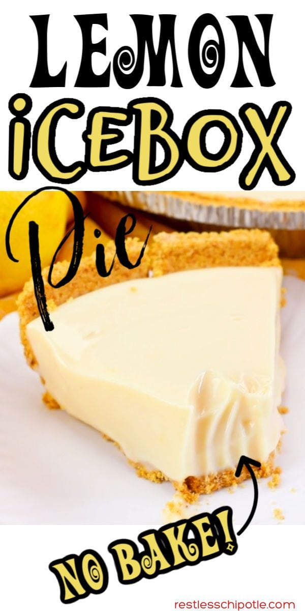 Slice of lemon pie with title text overlay.