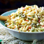Closeup of macaroni salad in a bowl.
