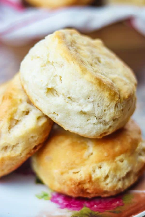 Close up of a pile of buttermilk biscuits