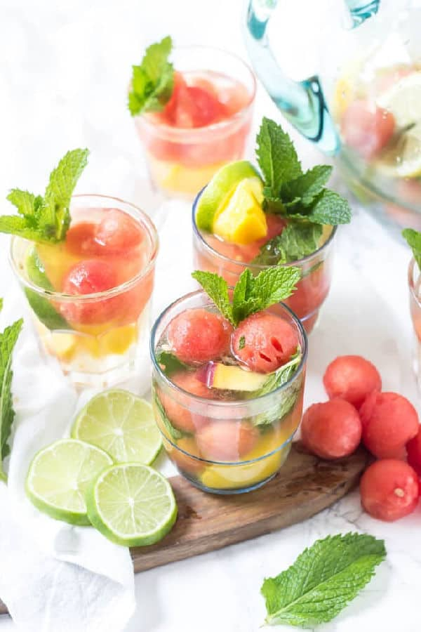 cocktail with watermelon balls