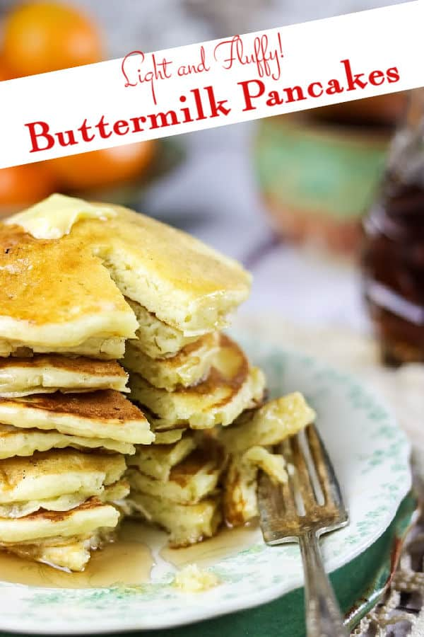 Stack of buttermilk pancakes cut to show interior. Title image with text overlay.