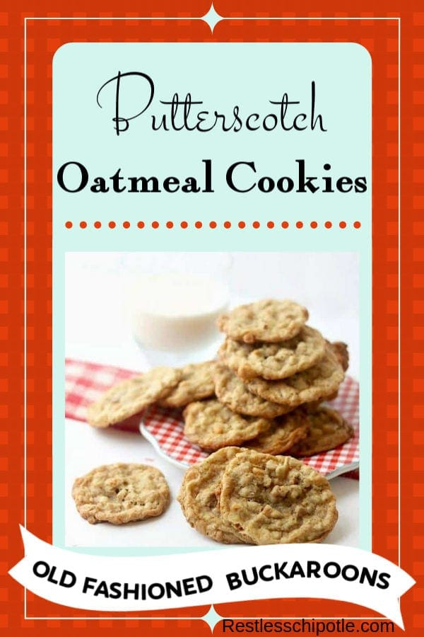 Butterscotch oatmeal cookies recipe is the stuff memories are made of. We call them butterscotch buckaroons -they\'re jam packed with pecans and toffee! #butterscotch #oatmeal #easy