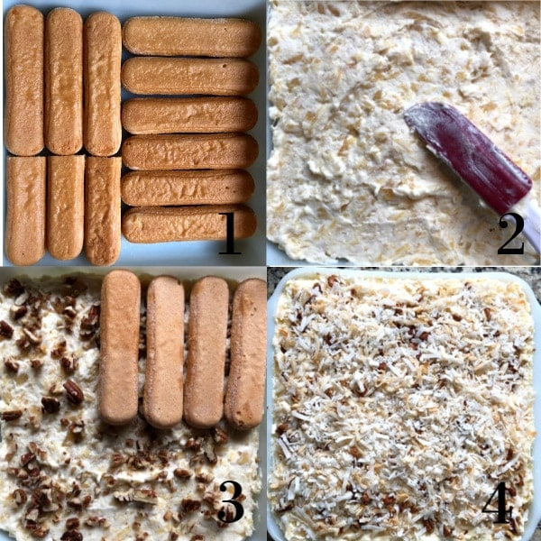 Four photos in a Collage showing the assembly process of the easy tiramisu.