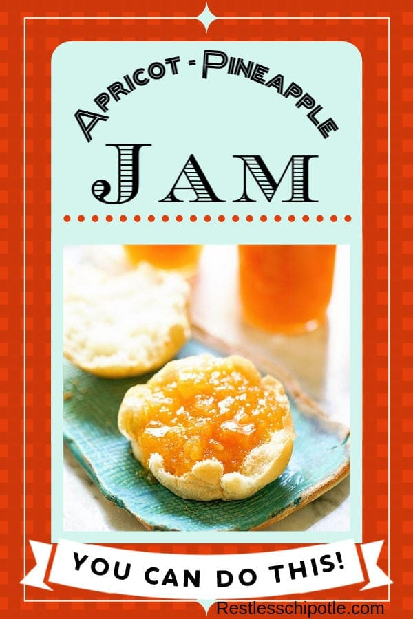 Easy homemade jam recipe is made with apricots and pineapple for a delicious mellow treat! #recipe #apricot #homemade