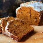 pumpkin spice bread slices for recipe card