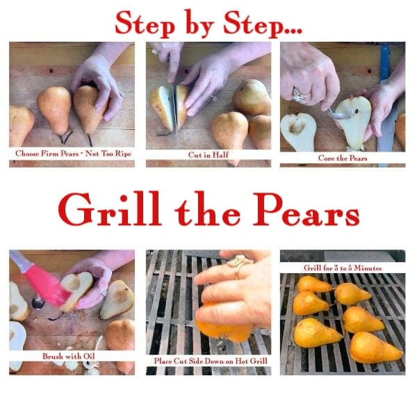 Step by step images showing how to grill pears.