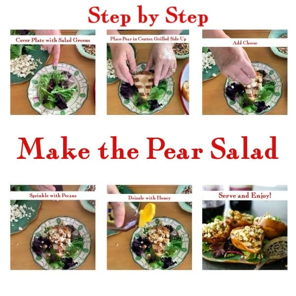 Step by step images for how to assemble pear salad.