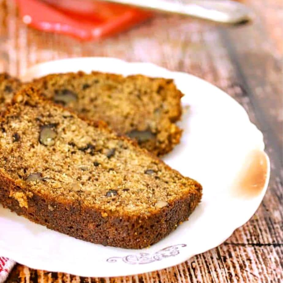 Slice of buttermilk banana bread on a plate.