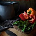 Bell peppers in a bowl - title text overlay