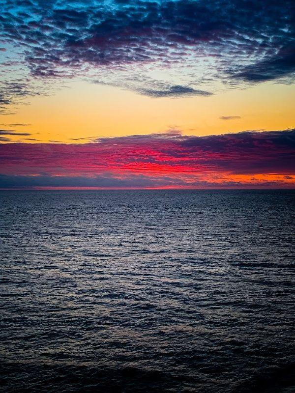 Vivid Alaskan Sunset over the ocean on the Alaskan Cruise.