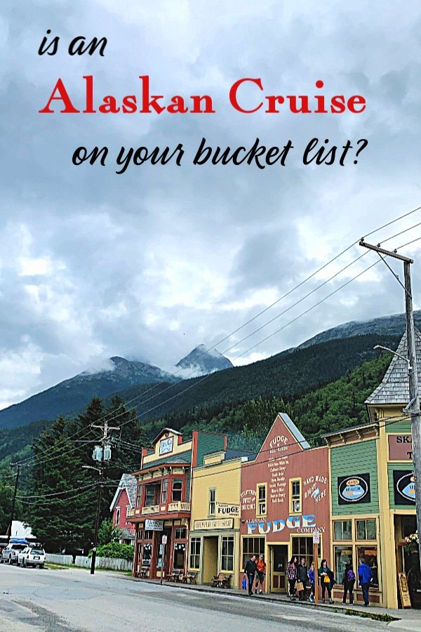 Alaskan Cruise excursion - street in Ketchikan Alaska with title text overlay.