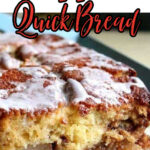 Closeup of the apple bread with text overlay for Pinterest.
