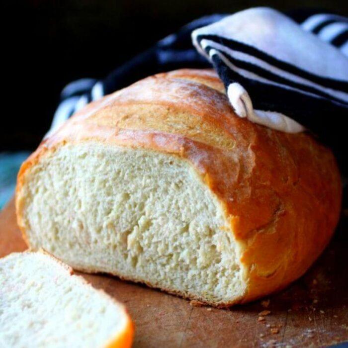 Sliced loaf of bread showing inside texture.