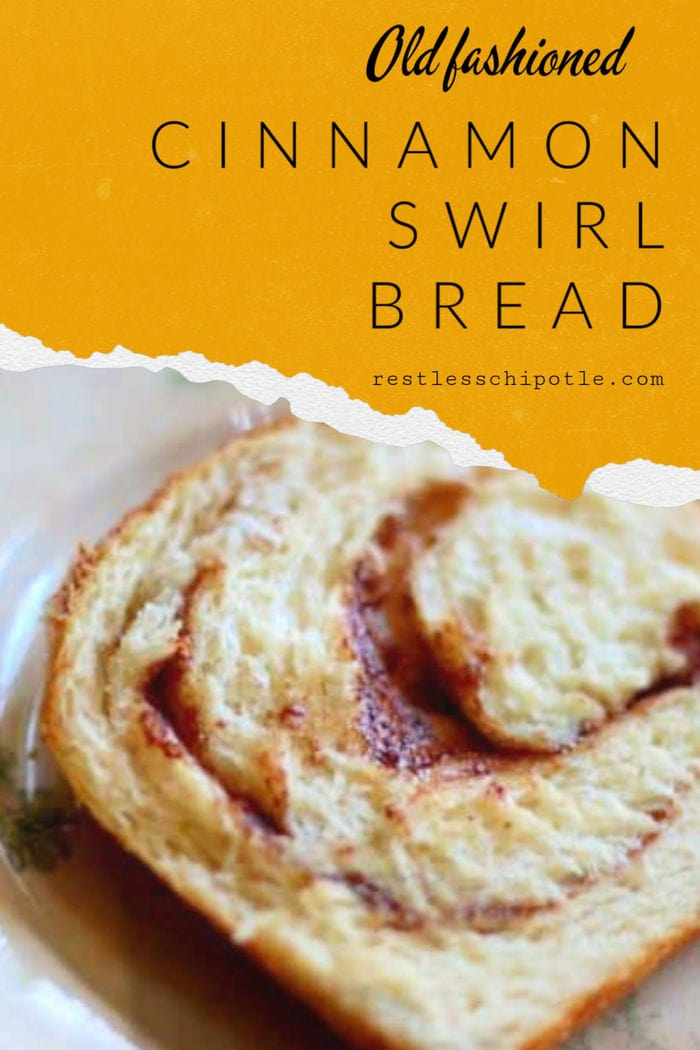 Easy cinnamon bread recipe has a gooey swirl of cinnamon and sugar in every slice. SO good for brunch! #cinnamonbread #bread #baking #cinnamon #recipe #yeast #homemade #breakfast #brunch #breadmaking #easy #loaf #best #swirl #withicing #gooey #raisin #simple #sandwich